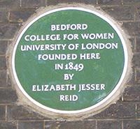 Bedford College plaque