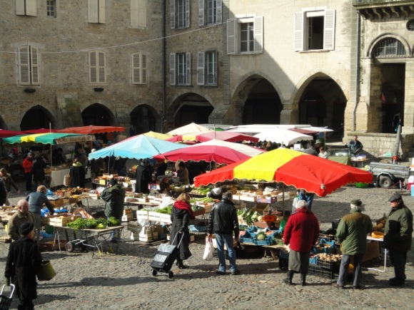 Villefranche market - colourful stalls